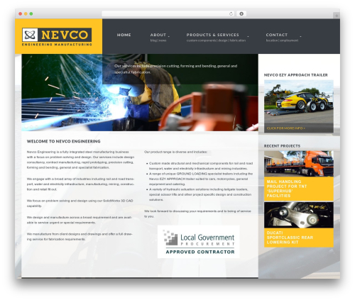 Smart Theme automotive WordPress theme - nevco.com.au