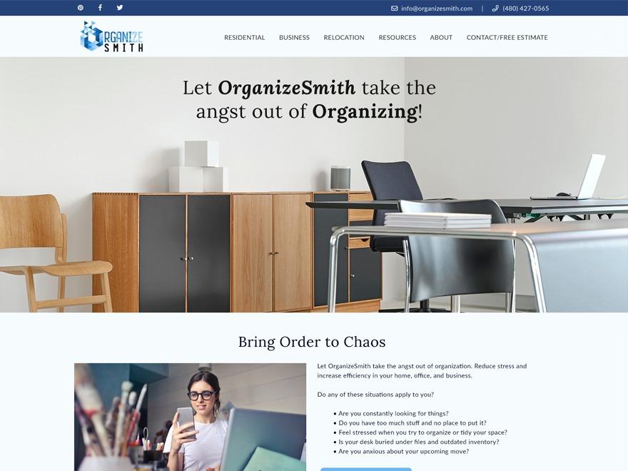 Organize Smith Child Theme WordPress theme