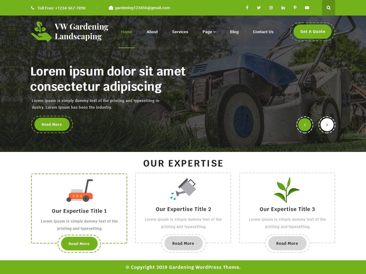 VW Gardening Landscaping WordPress store theme