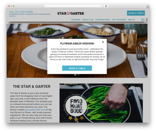 Peach Pubs WordPress theme design - starandgarterleamington.co.uk