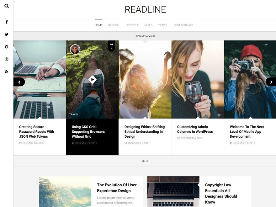 Readline WordPress news theme