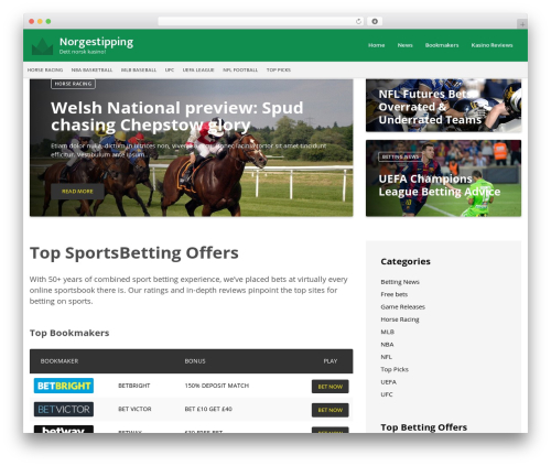 VegasHero Sports Betting Theme best WordPress theme - norgestipping.com
