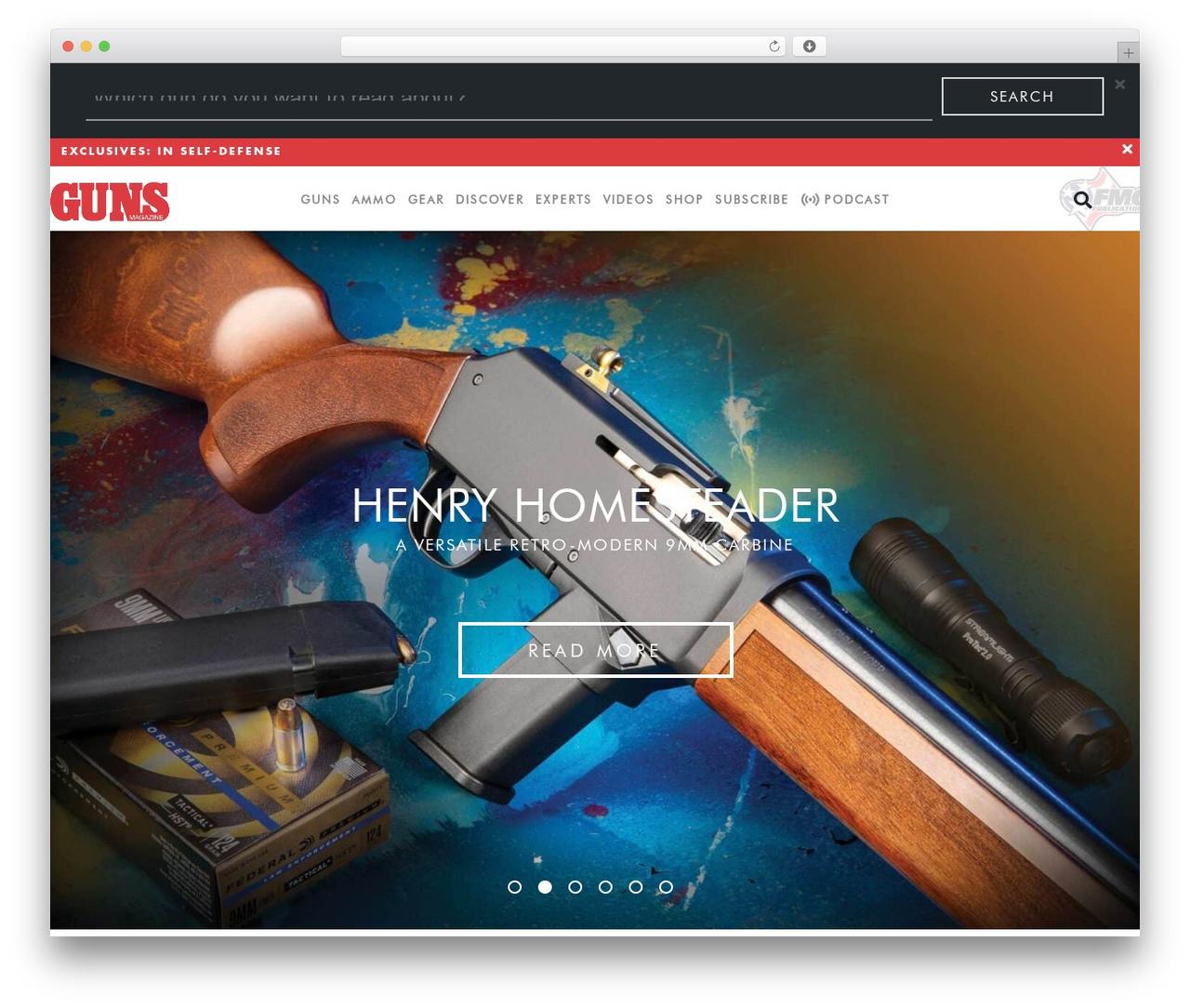 client theme WordPress template - gunsmagazine.com