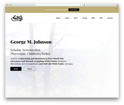 Booker WordPress page template - georgemjohnson.com