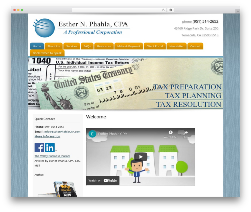 Customized WordPress template for business - estherphahlacpa.com