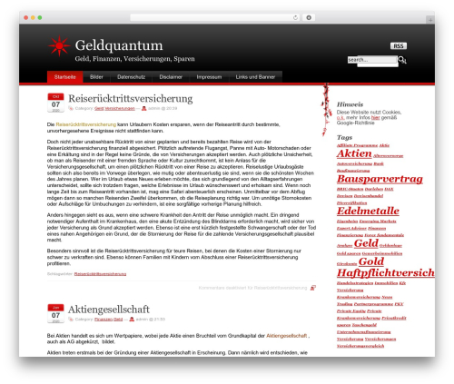 WordPress website template Stardust - geldquantum.de