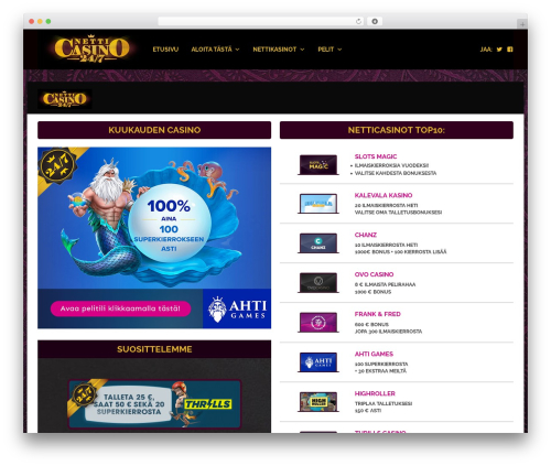 WP Casino Theme WordPress template - netticasino247.com