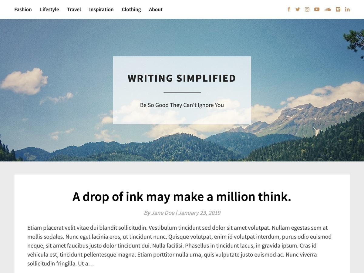 Bright Writing WordPress blog template