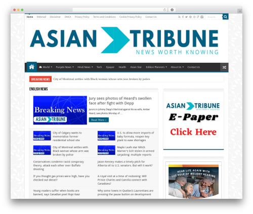 Sahifa (shared on wplocker.com) newspaper WordPress theme - asiantribune.ca