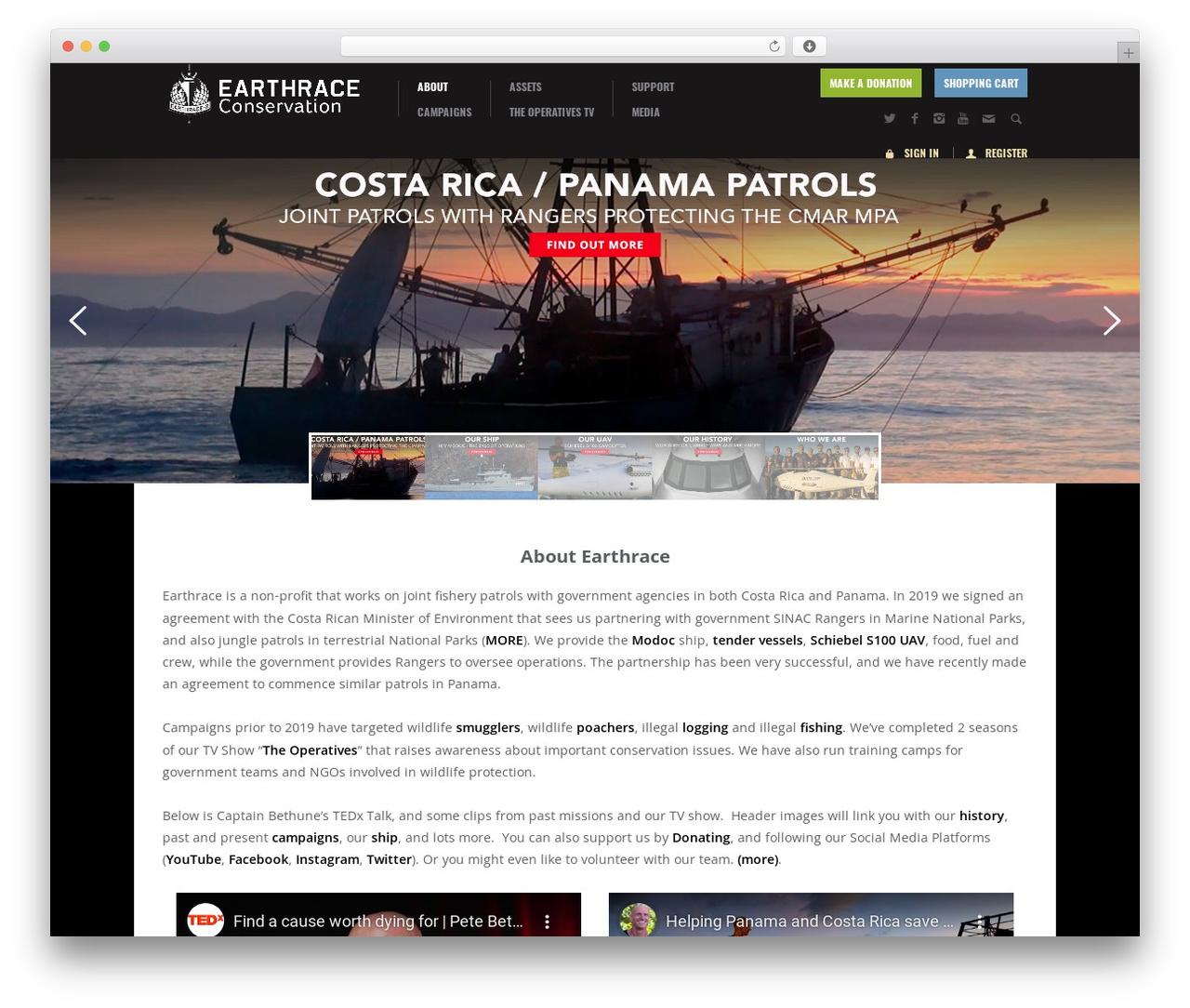 Biosphere template WordPress - earthrace.net