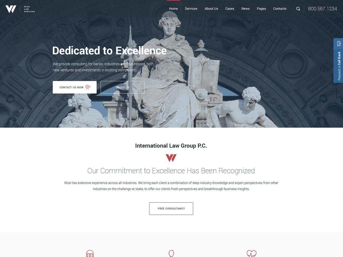 Wizelaw Child WordPress website template