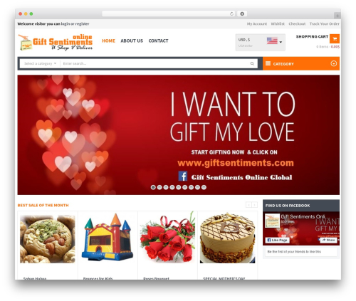 WPO Shopping WordPress website template - giftsentiments.com/global
