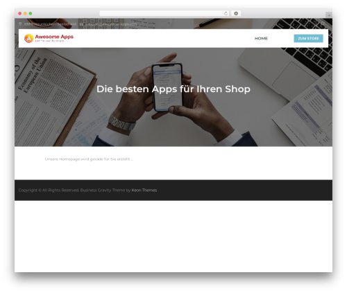 Business Gravity WordPress store theme - awesome-apps.com