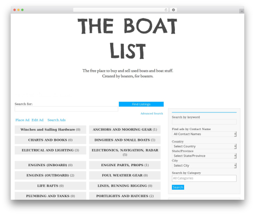 BlueGray best free WordPress theme - theboatlist.org