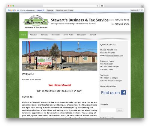 Customized company WordPress theme - stewtax.com