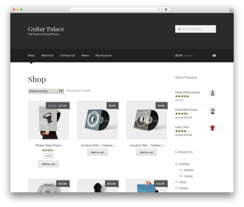 WordPress theme Boutique - guitarpalace.com