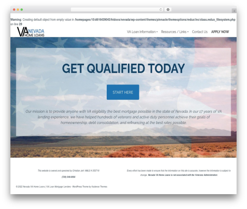 Pinnacle WordPress website template - nevadavahomeloans.com