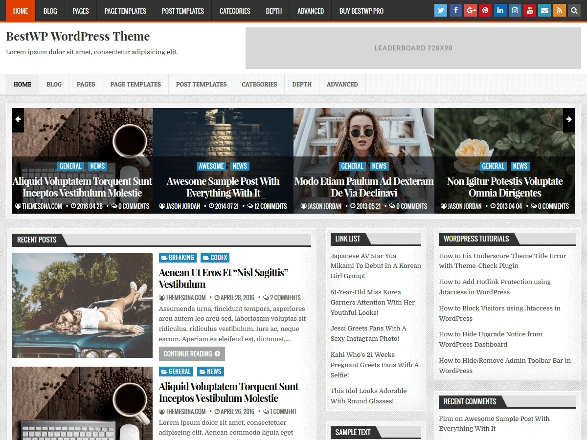 Bestwp top WordPress theme