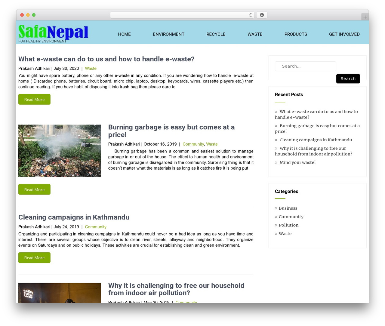 Eco Friendly Lite WordPress theme - safanepal.com