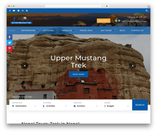 Free WordPress Travel Agency Companion plugin - sunriseadventuretrek.com