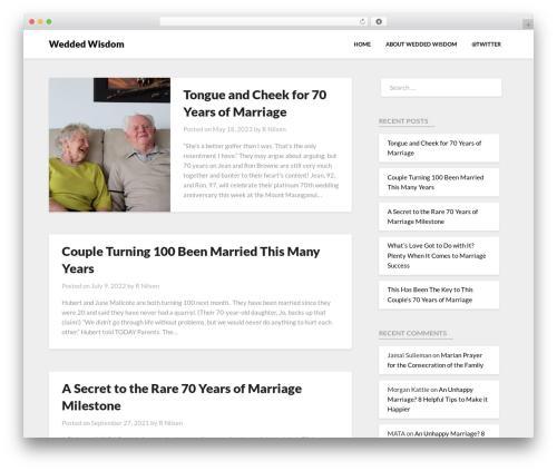 Bloggist WordPress blog template - weddedwisdom.com