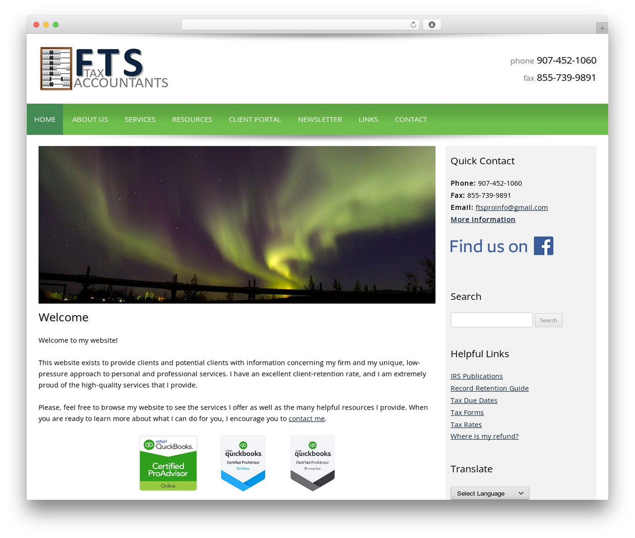 Customized WordPress template - fairbankstax.com
