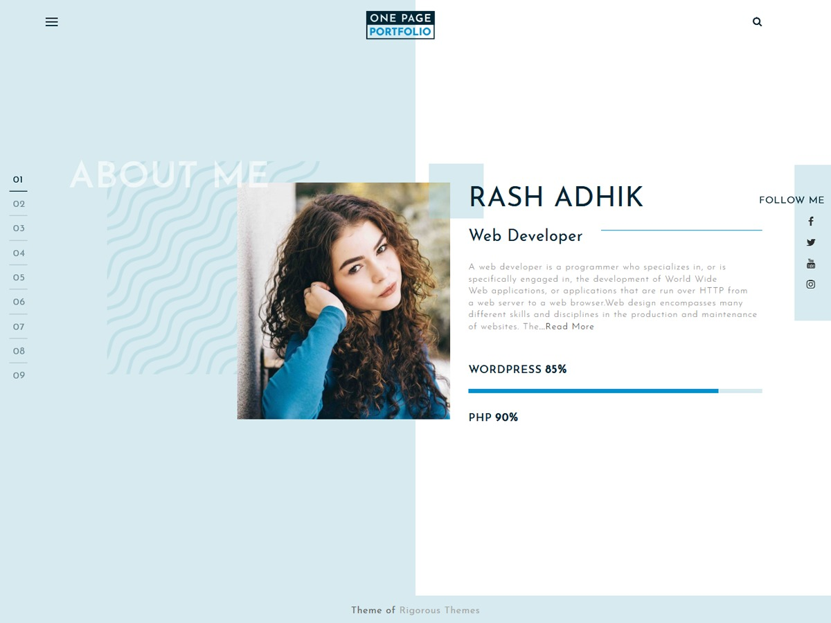 One Page Portfolio WordPress template for business