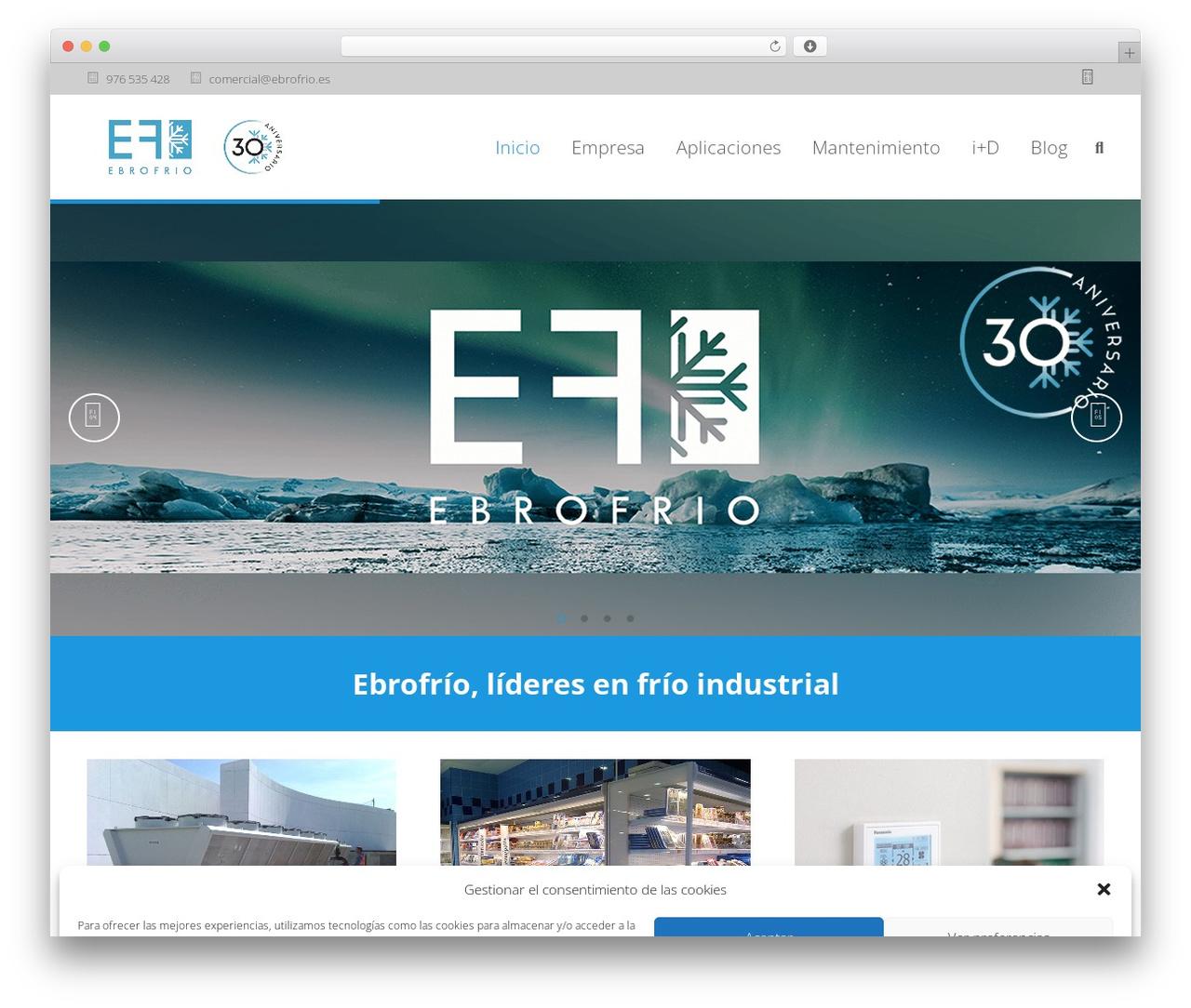 Impreza WordPress theme - ebrofrio.es