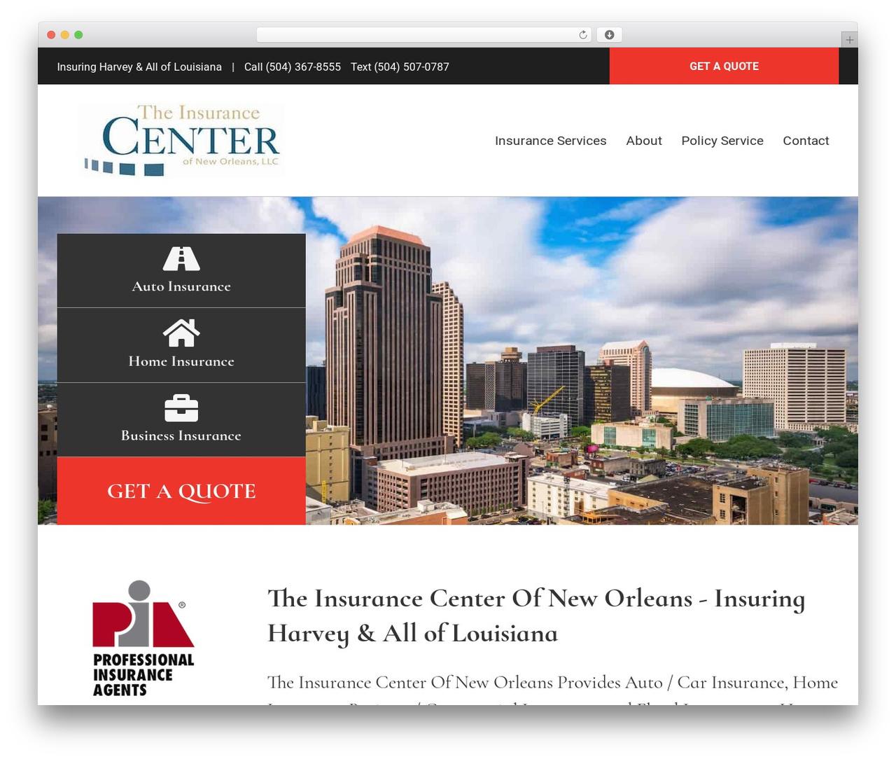 WordPress website template BrightFire Stellar - theinscenter.com