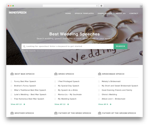 Manual WordPress wedding theme - moneyspeech.com