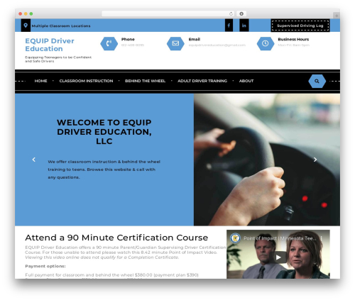 Driving School Lite WordPress page template - equipdrivereducation.com