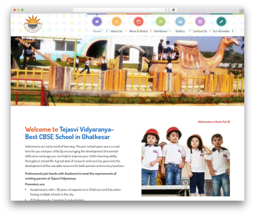 Kids World WordPress website template - tejasvividyaranya.com