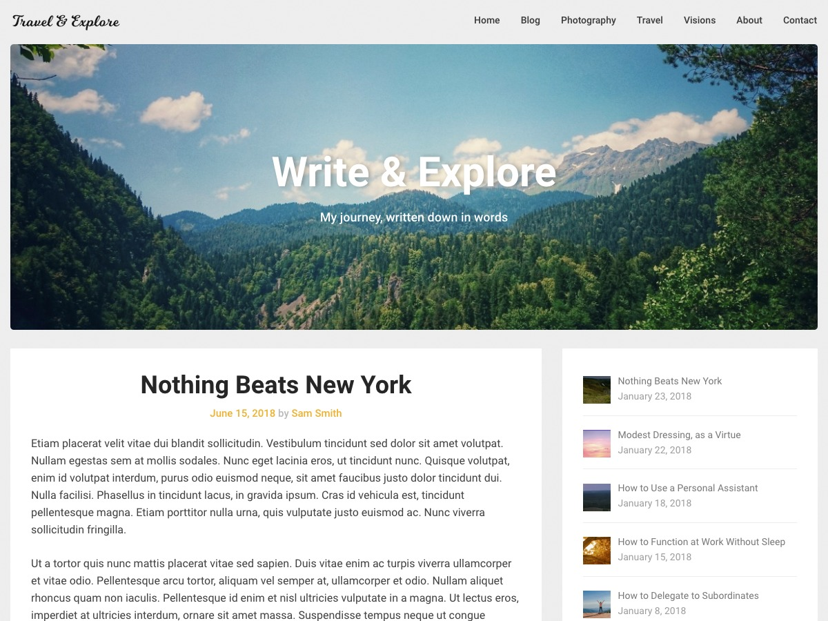 Corporately Blogging WordPress template for business