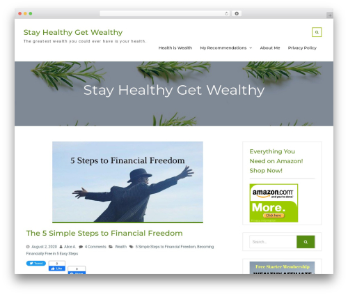 Nature Bliss theme WordPress free - stayhealthygetwealthy.com