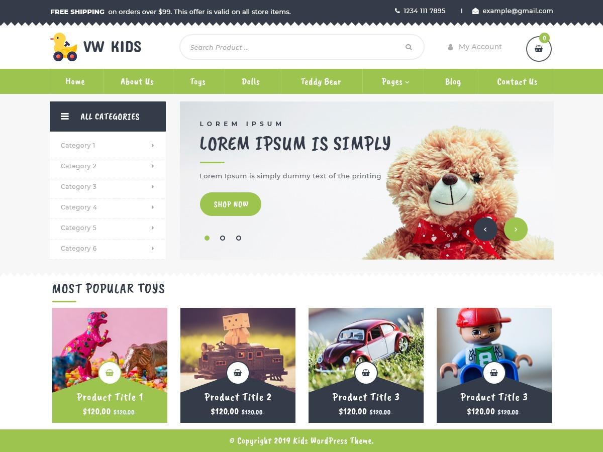 VW Kids personal blog WordPress theme