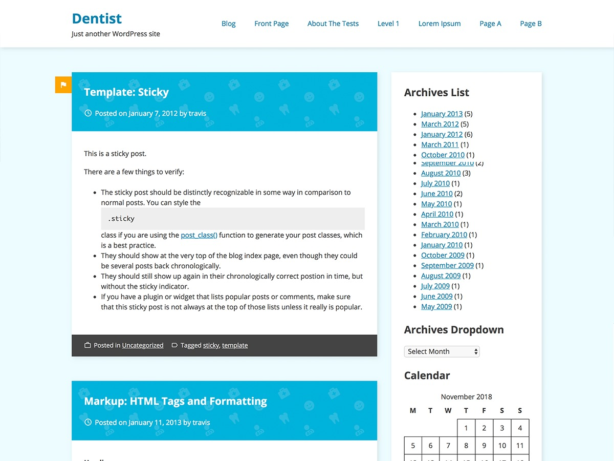 Dentist Business WordPress template for business