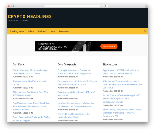 Crypto by MyThemeShop WordPress ecommerce theme - cryptoheadlines.com