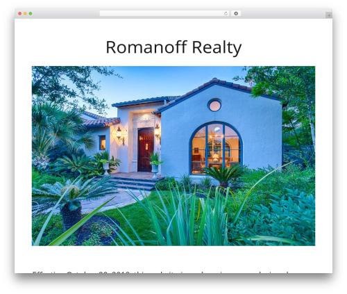 Minus WordPress theme - romanoffrealty.com