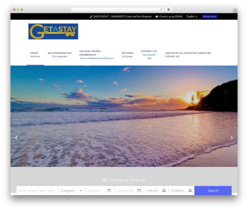 Villas WordPress template - getastay.com.au