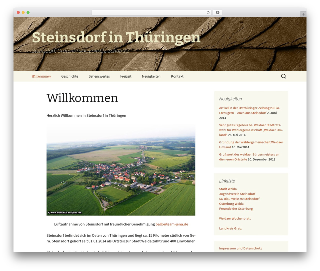 WordPress website template Twenty Thirteen - xn--steinsdorf-thringen-ibc.de
