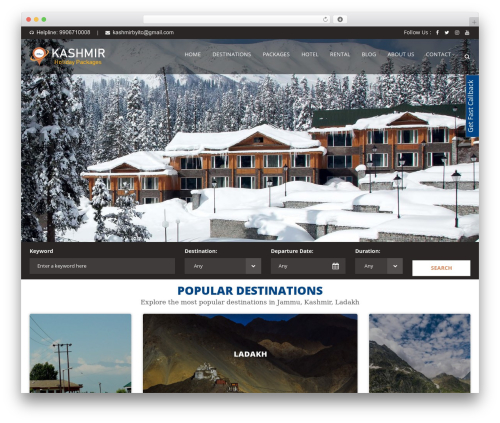 WordPress template Aventura - kashmirholidaypackages.com
