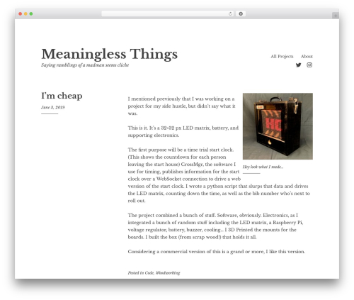 WordPress theme Libre 2 - meaninglessthings.com
