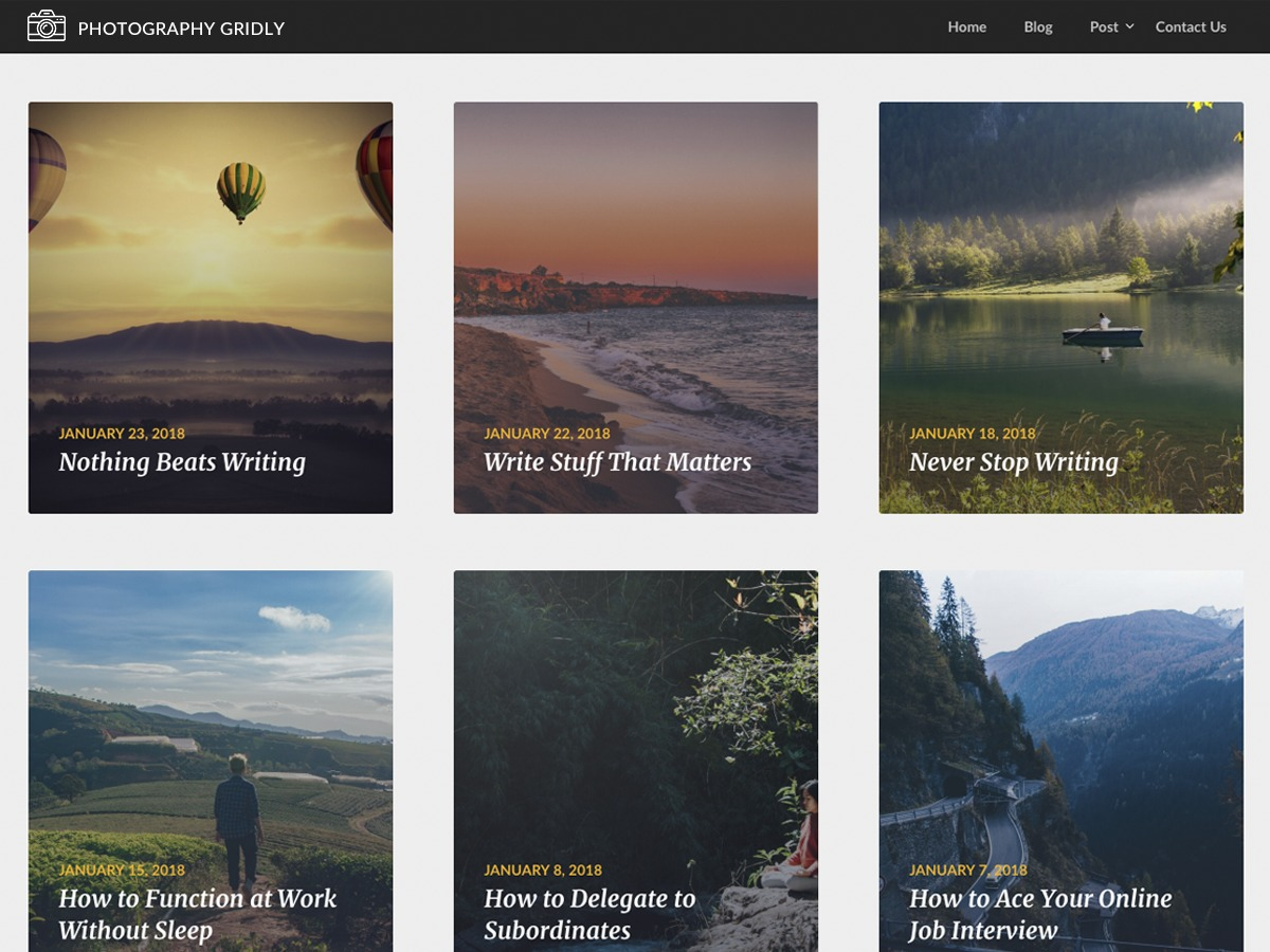 Photography Gridly business WordPress theme