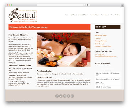 Pinnacle free WordPress theme - restfultherapylounge.com