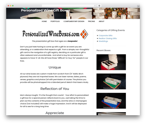 Speaker Theme WordPress website template - personalizedwineboxes.com