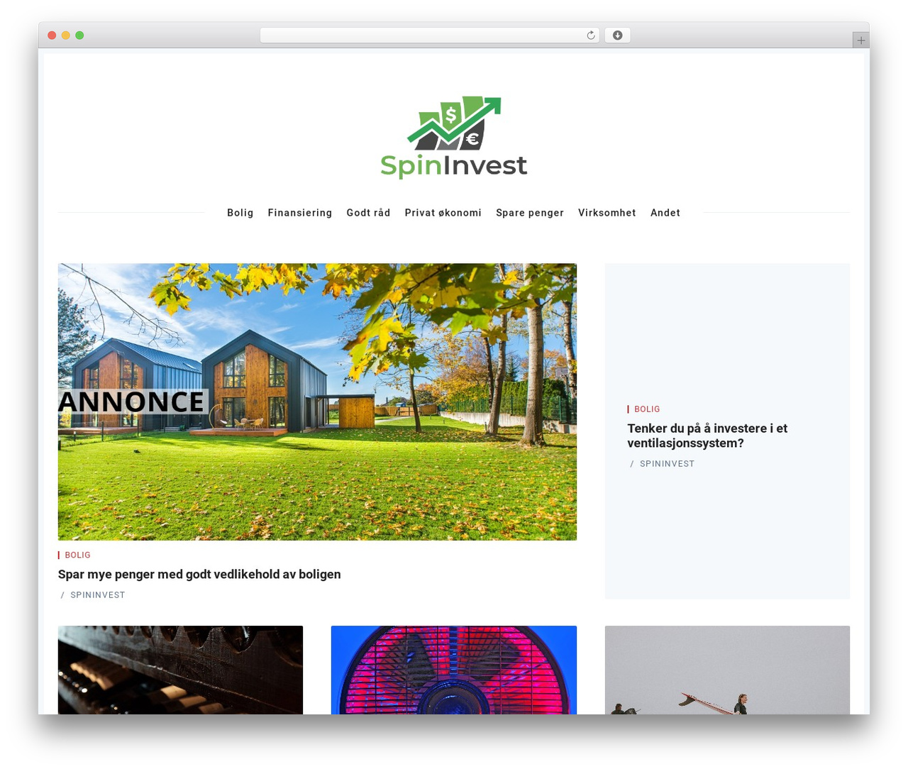 WordPress website template Nubia - spininvest.no