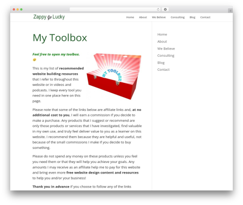 Divi WordPress theme - zappygolucky.com/my-toolbox