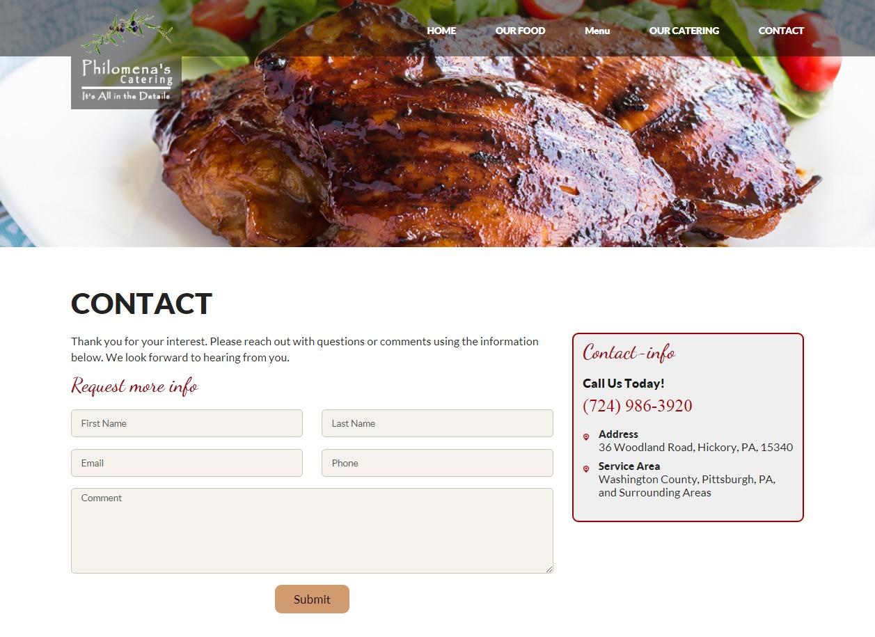 WordPress template Philomenas Catering