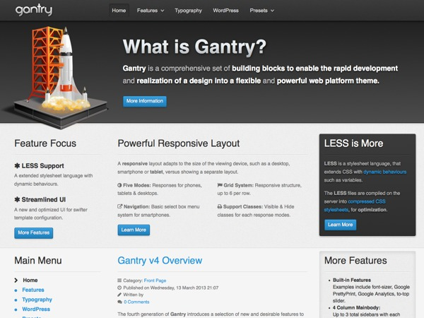 WordPress website template Gantry Theme for WordPress