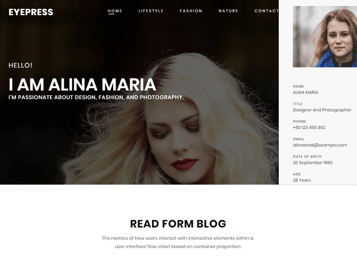 Eyepress WordPress blog template